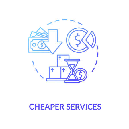 Cheaper services blue gradient concept icon. Marketing strategy. Trading solution. Commerce, money. Reduces price for product idea thin line illustration. Vector isolated outline RGB color drawing