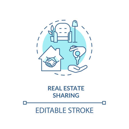 Real estate sharing turquoise concept icon. Communal coliving. Property rental. Apartment for sale. Cohousing idea thin line illustration. Vector isolated outline RGB color drawing. Editable stroke