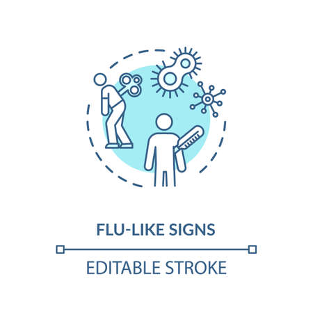 Flu like signs concept icon. Acute bacterial prostatitis symptom, infectious disease, mens healthcare problem idea thin line illustration. Vector isolated outline RGB color drawing. Editable stroke