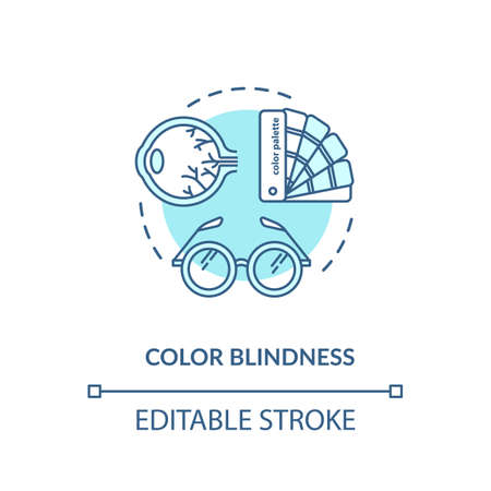 Color blindness concept icon. Common mens problem, genetic eye condition idea thin line illustration. Color vision deficiency diagnosis. Vector isolated outline RGB color drawing. Editable stroke