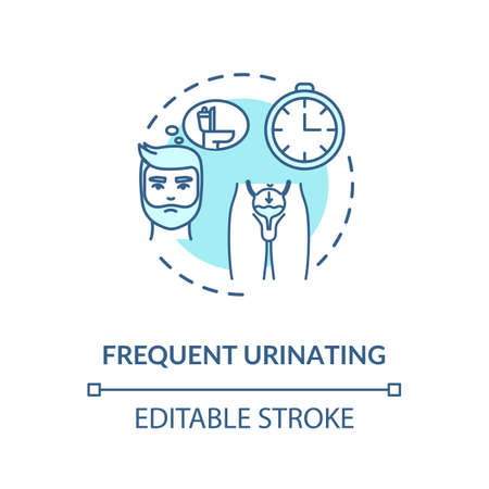 Frequent urination concept icon. Prostatitis symptom idea thin line illustration. Prostate gland inflammation, urinary tract infection. Vector isolated outline RGB color drawing. Editable stroke