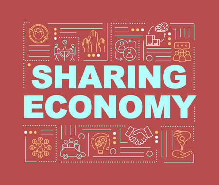 Sharing economy word concepts banner. Peer to peer business model, collaborative economiy infographics with linear icons on red background. Isolated typography. Vector outline RGB color illustration