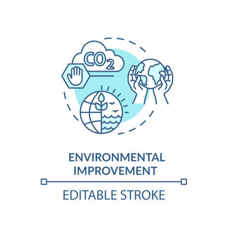 Environmental improvement turquoise concept icon. Reduce industrial waste. Sustainable production idea thin line illustration. Vector isolated outline RGB color drawing. Editable stroke