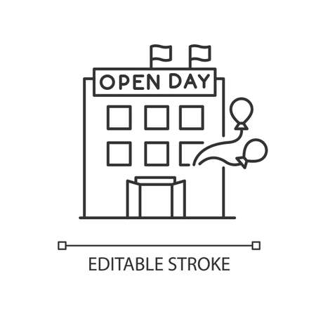 Open house day pixel perfect linear icon. Special event in company. Invite to organization. Thin line customizable illustration. Contour symbol. Vector isolated outline drawing. Editable stroke Ilustración de vector