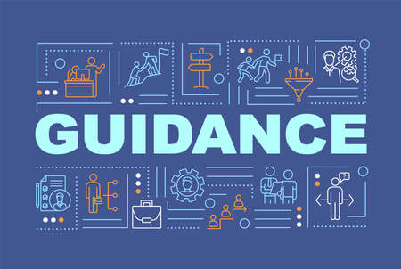 Guidance word concepts banner. Support programs, personal growth and skill development infographics with linear icons on blue background. Isolated typography. Vector outline RGB color illustration