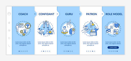 Role model types onboarding vector template. Confidant to work in team. Coach for personal mentoring. Responsive mobile website with icons. Webpage walkthrough step screens. RGB color concept Vetores