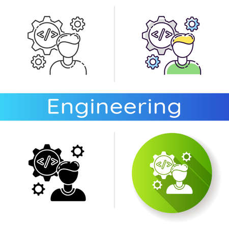 Software engineer icon. Programmer work on responsive algorithm. Coder professional for corporate job. Computer specialist. Linear black and RGB color styles. Isolated vector illustrations