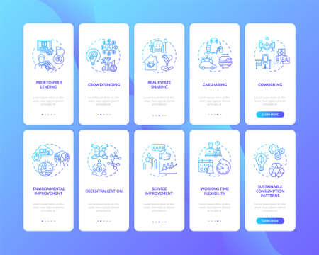 Gig economy onboarding mobile app page screen with concepts set. Sharing services types and benefits walkthrough five steps graphic instructions. UI vector template with RGB color illustrations Vecteurs