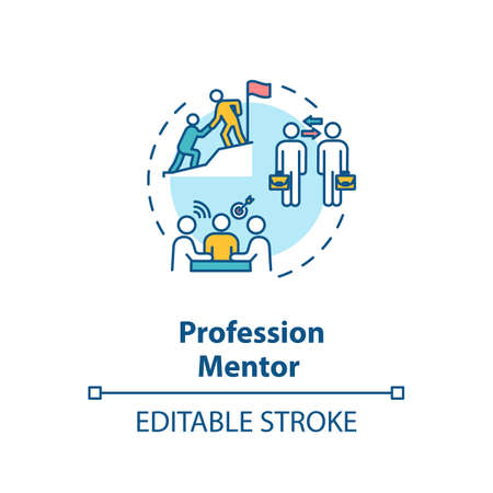 Profession mentor concept icon. Professional skills development, qualification training idea thin line illustration. Business coaching. Vector isolated outline RGB color drawing. Editable stroke