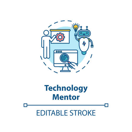 Technology mentor concept icon. Education in modern computer technologies idea thin line illustration. E mentoring, online training courses. Vector isolated outline RGB color drawing. Editable stroke