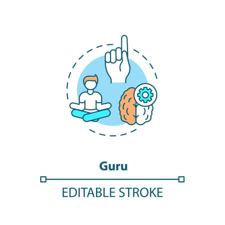 Guru concept icon. Professional mentor, experienced specialist idea thin line illustration. Teacher, skilled expert, inspiring role model. Vector isolated outline RGB color drawing. Editable stroke