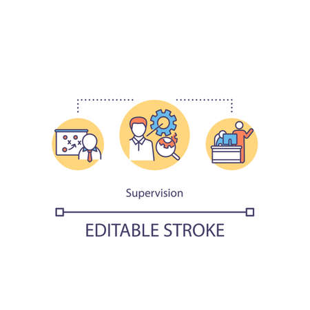 Supervision concept icon. Supervisory mentoring idea thin line illustration. Protege growth planning, oversight and management. Vector isolated outline RGB color drawing. Editable stroke