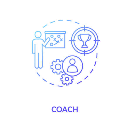 Coach concept icon. Professional mentor, education specialist idea thin line illustration. Teacher for professional and personal growth. Vector isolated outline RGB color drawing