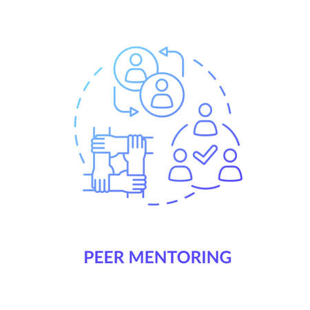 Peer mentoring concept icon. Social togetherness, mutual support idea thin line illustration. People sharing experience, helping each other. Vector isolated outline RGB color drawing
