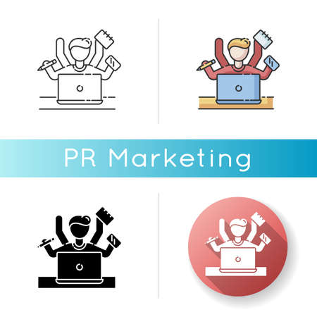 Multitasking icon. Work overload. Efficiency in management. Productive employee. Professional entrepreneur. Corporate leadership. Linear black and RGB color styles. Isolated vector illustrations