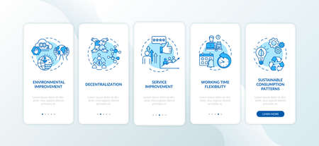 Peer economy benefits onboarding mobile app page screen with concepts. On demand business advantages walkthrough five steps graphic instructions. UI vector template with RGB color illustrations