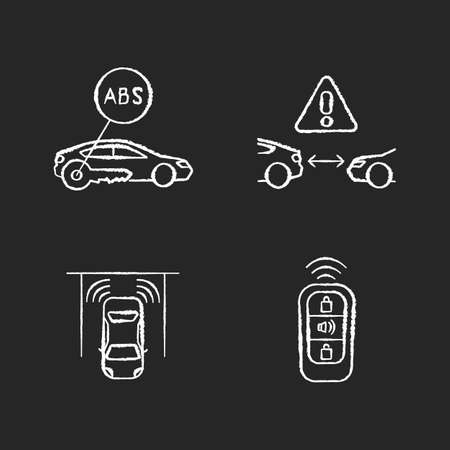 Smart driving safety systems chalk white icons set on black background. Driver assistance. Anti lock system, cruise control, parking sensor, keyless entry. Isolated vector chalkboard illustrations