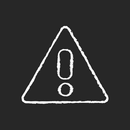 Attention chalk white icon on black background. Safe driving, traffic rules, transport safety regulations. Warning road sign. Triangle with exclamation mark isolated vector chalkboard illustration Vettoriali
