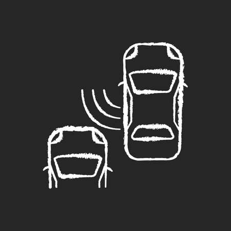 Blind spot monitoring system chalk white icon on black background. Safe driving and car security, modern traffic safety. Smart driver assistance technology. Isolated vector chalkboard illustration