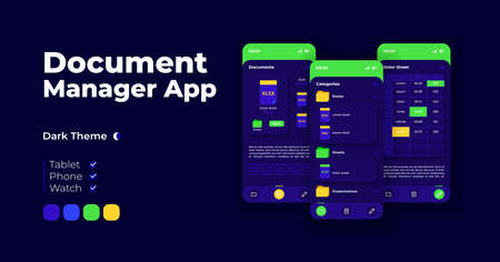 Document manager cartoon smartphone interface vector templates set. Mobile app screen page night mode design. Media storage. File directory UI for application. Phone display with flat illustration
