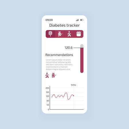 Diabetes tracking smartphone interface vector template. Mobile app page white theme design layout. Blood pressure and glucose level monitor application screen. Flat UI for application. Phone display