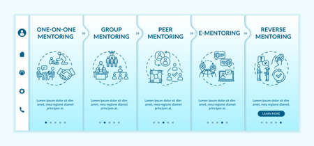 Mentorship systems onboarding vector template. Education guidance. Learning in group. One on one mentoring. Responsive mobile website with icons. Webpage walkthrough step screens. RGB color concept