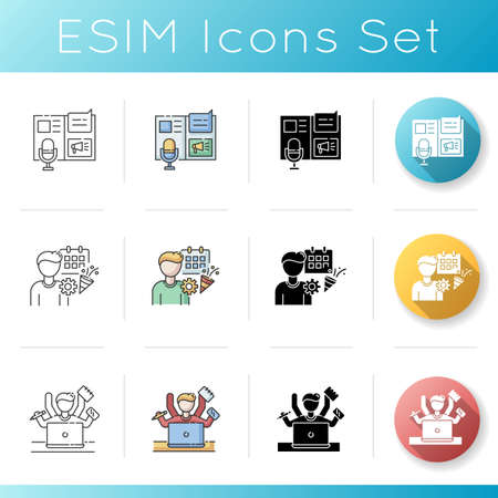 Promotion campaign icons set. Advertorial press release. Event management. Multi tasking employee. Appointment planning. Linear, black and RGB color styles. Isolated vector illustrations