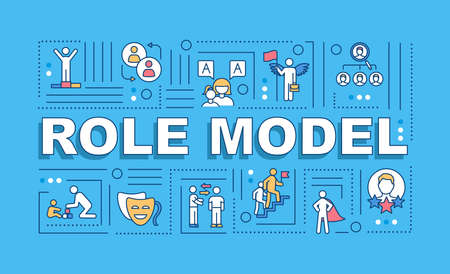 Role model word concepts banner. Professional expertise. Parenthood experience. Infographics with linear icons on blue background. Isolated typography. Vector outline RGB color illustration