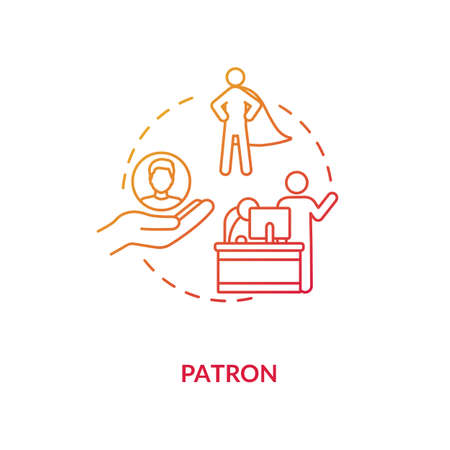 Patron concept icon. Mentor figure, superior chief and leader idea thin line illustration. Professional development specialist, sponsor. Vector isolated outline RGB color drawing