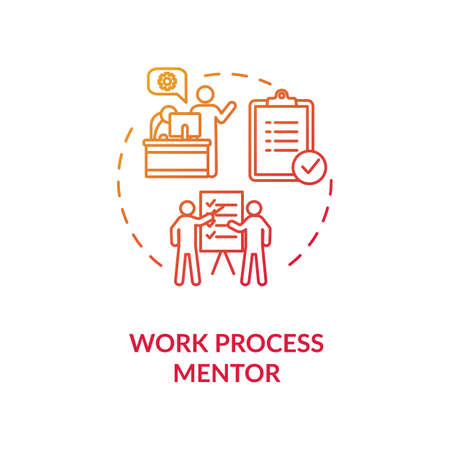 Work process mentor concept icon. Professional guidance and supervision idea thin line illustration. Qualification and skills development. Vector isolated outline RGB color drawing
