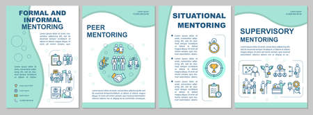 Types of mentoring brochure template. Corporate supervision. Flyer, booklet, leaflet print, cover design with linear icons. Vector layouts for magazines, annual reports, advertising posters Vectores