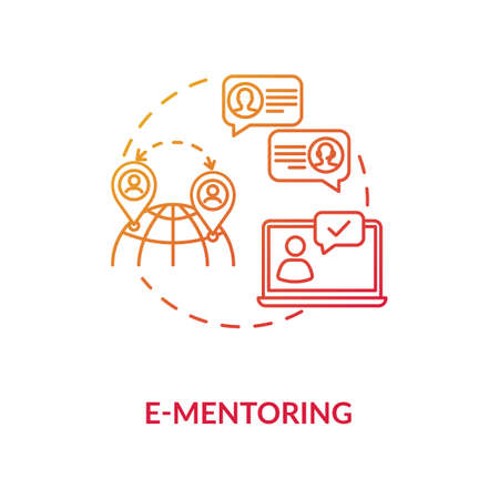 E mentoring concept icon. Internet mentorship, communication technology idea thin line illustration. Educational training courses online. Vector isolated outline RGB color drawing Illustration