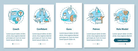 Role model types onboarding mobile app page screen with concepts. Leadership for student guidance walkthrough 5 steps graphic instructions. UI vector template with RGB color illustrations