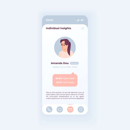 Personal account management smartphone interface vector template. Mobile app page white design layout. CRM service screen. Flat UI for application. Increase engagement. Phone display