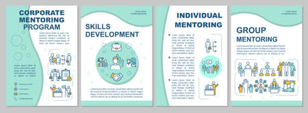 Mentoring program brochure template. Coaching and training. Flyer, booklet, leaflet print, cover design with linear icons. Vector layouts for magazines, annual reports, advertising posters