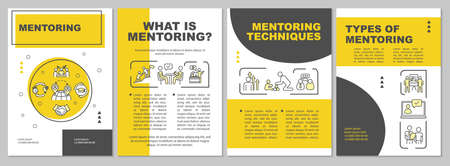 Mentorship brochure template. Corporate management. Employee guidance. Flyer, booklet, leaflet print, cover design with linear icons. Vector layouts for magazines, annual reports, advertising posters