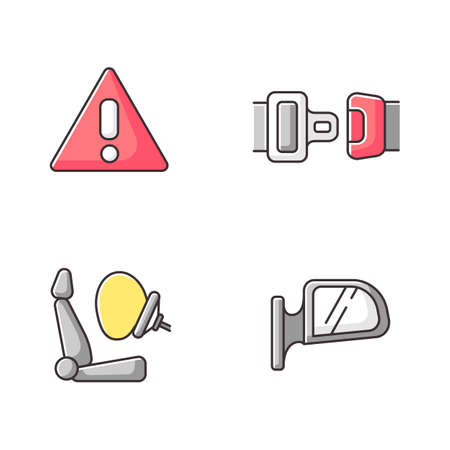Drivers safety precautions RGB color icons set. Security measures, safe driving. Warning sign, seatbelt, airbag and rear view mirror. Isolated vector illustrations