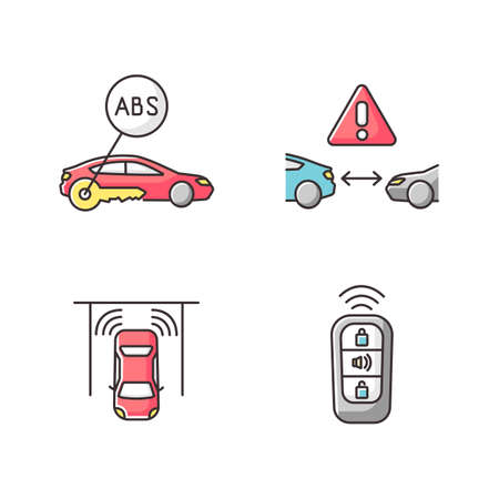 Smart driving safety systems RGB color icons set. Driver assistance. Anti lock system, cruise control, parking sensor, keyless entry. Isolated vector illustrations