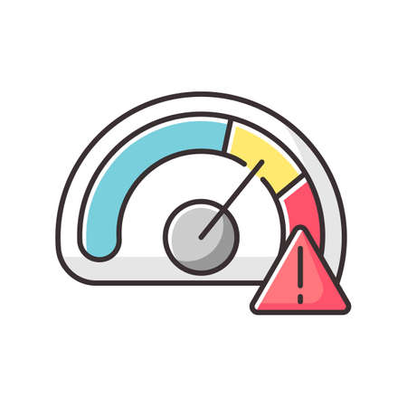 Speed limit RGB color icon. Safe driving rule, traffic law. Accident prevention, safety precaution. Over speed warning. Car speedometer isolated vector illustration