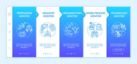 Expert assistance onboarding vector template. Profession expert. Organization employee support. Responsive mobile website with icons. Webpage walkthrough step screens. RGB color concept