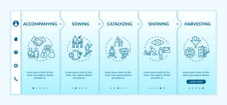 Mentoring progress onboarding vector template. Accompanying student. Professional trainer to help at work. Responsive mobile website with icons. Webpage walkthrough step screens. RGB color concept