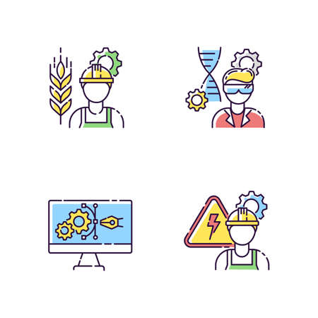 Engineering career type RGB color icons set. Agricultural production specialist. Biotechnology research professional. Medical laboratory worker. Male electrician. Isolated vector illustrations