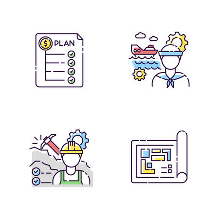 Professional for engineer project RGB color icons set. Expenditure plan. Marine engineer. Mining worker. Blueprint for building project. Schematic draft on paper. Isolated vector illustrations