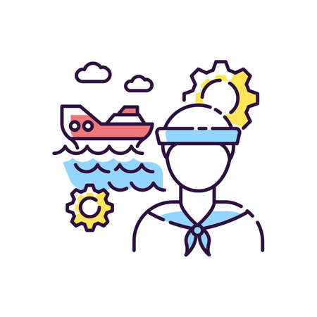 Marine engineer RGB color icon. Nautical production. Professional sailor for steering system maintenance. Job on ocean vessel. Mechanical worker for water transport. Isolated vector illustration