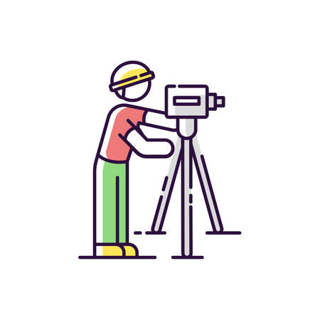 Land surveyor RGB color icon. Measure alignment. Civil engineering specialist. Topography work professional. Scientific research on site. Measure land level. Isolated vector illustration