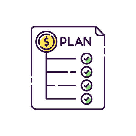 Expenditure plan RGB color icon. Financial annual report. Banking to count revenue and expenses. Accounting statement. Paperwork for effective marketing strategy. Isolated vector illustration