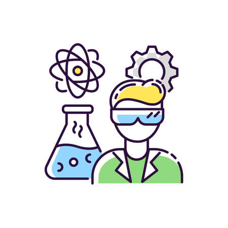 Chemical engineer RGB color icon. Biochemical specialist. Professional for biotechnology experiment. Pharmacology production. Scientific research in laboratory. Isolated vector illustration