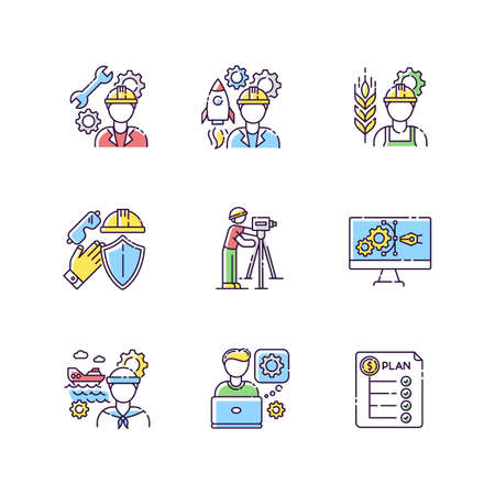 Industrial production worker RGB color icons set. Civil engineering. Expenditure plan. Manufacturing worker. Rocket builder. Technical maintenance specialist. Isolated vector illustrations