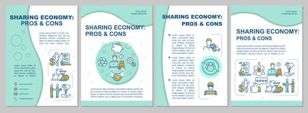Sharing economy pros and cons brochure template. P2P model advantages flyer, booklet, leaflet print, cover design with linear icons. Vector layouts for magazines, annual reports, advertising posters
