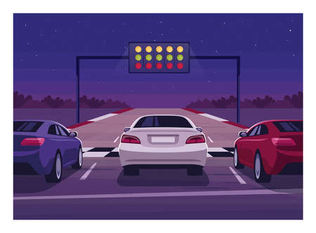 Car race semi flat vector illustration. Contemporary speedway at night. Fast auto. Highway with vehicles to compete. Finish line for championship 2D cartoon scenery for commercial use